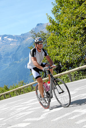Cycling up Alpe D'Huez